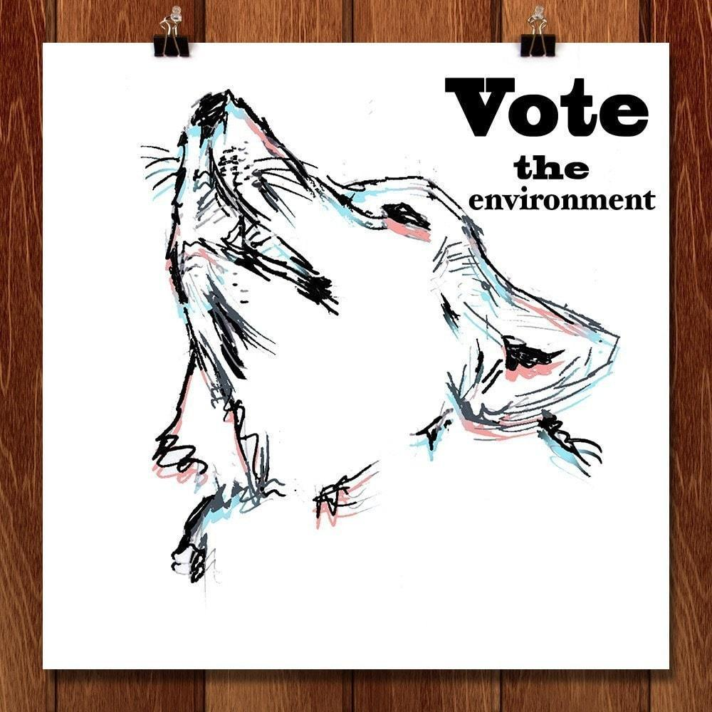 "Predator Wolf by Lorenzo Angel 12"" by 12"" Print / Unframed Print Vote the Environment"
