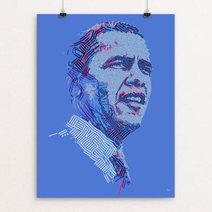 "President Barack Obama: Weaving a stars and stripes portrait by Charis Tsevis 12"" by 16"" Print / Unframed Print Design For Obama"