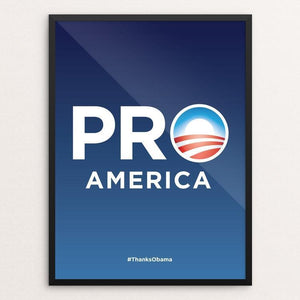 "Pro America by Padraig McCobb 12"" by 16"" Print / Framed Print Design For Obama"