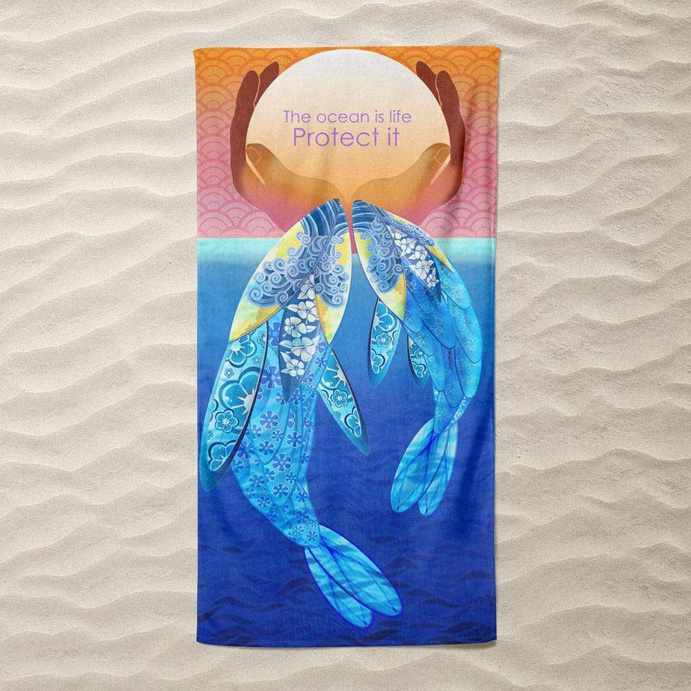 Protect Our Oceans by Yael Pardess Beach Towel Ocean Love