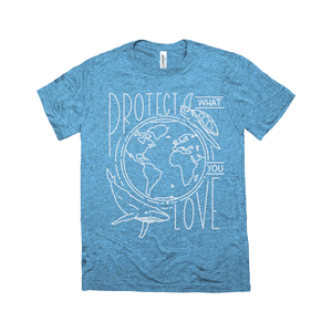 Protect What You Love Triblend Men's T-Shirt by Rachel Young Steel Blue Triblend / Extra Small (XS) Triblend T-Shirt Ocean Love