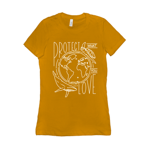 Protect What You Love Women's T-Shirt by Rachel Young Gold / Small (S) T-Shirt Creative Action Network