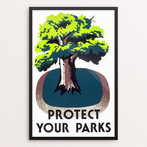 "Protect Your Parks by Stanley Thomas Clough 12"" by 18"" Print / Framed Print WPA Federal Art Project"