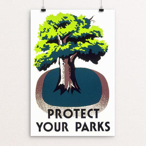 "Protect Your Parks by Stanley Thomas Clough 12"" by 18"" Print / Unframed Print WPA Federal Art Project"