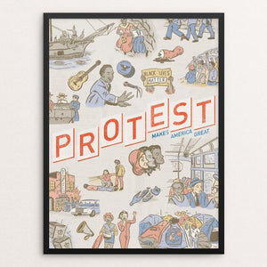 "Protest by Karl Orozco 12"" by 16"" Print / Framed Print What Makes America Great"