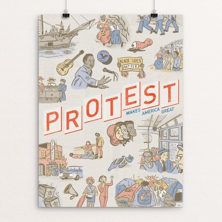 "Protest by Karl Orozco 12"" by 16"" Print / Unframed Print What Makes America Great"