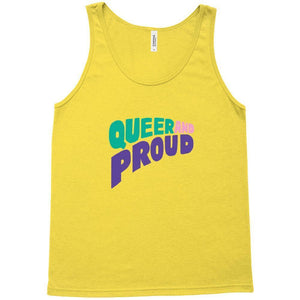 Queer and Proud Tank Top by Sindy Jireh Garcia Gold / Extra Small (XS) Tank Top Creative Action Network