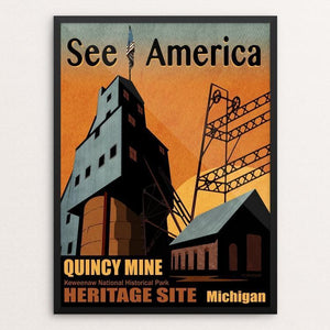 "Quincy Mine Heritage Site by Mike Stockwell 18"" by 24"" Print / Framed Print See America"