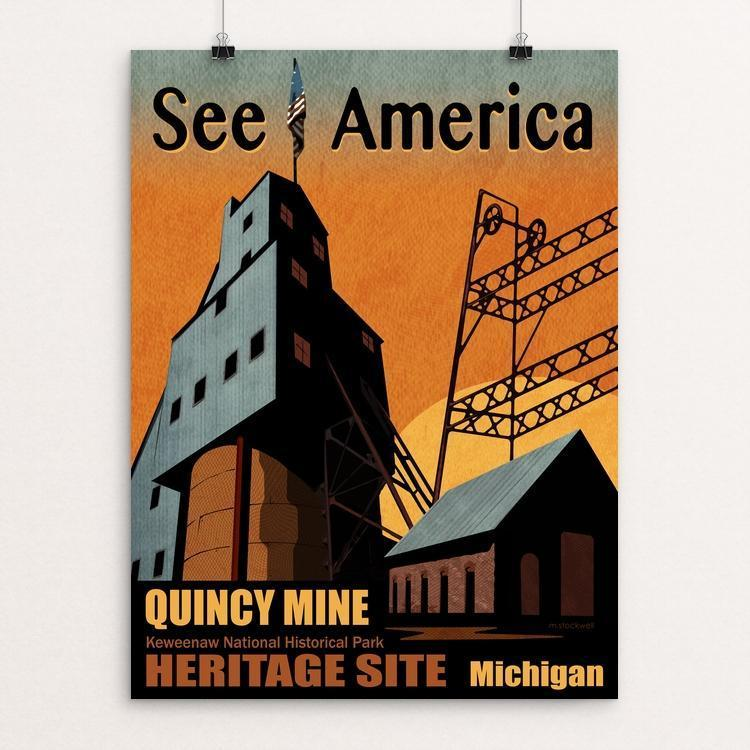"Quincy Mine Heritage Site by Mike Stockwell 18"" by 24"" Print / Unframed Print See America"