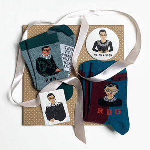 RBG Care Package - Ruth Bader Ginsburg Socks, Button, & Magnet
