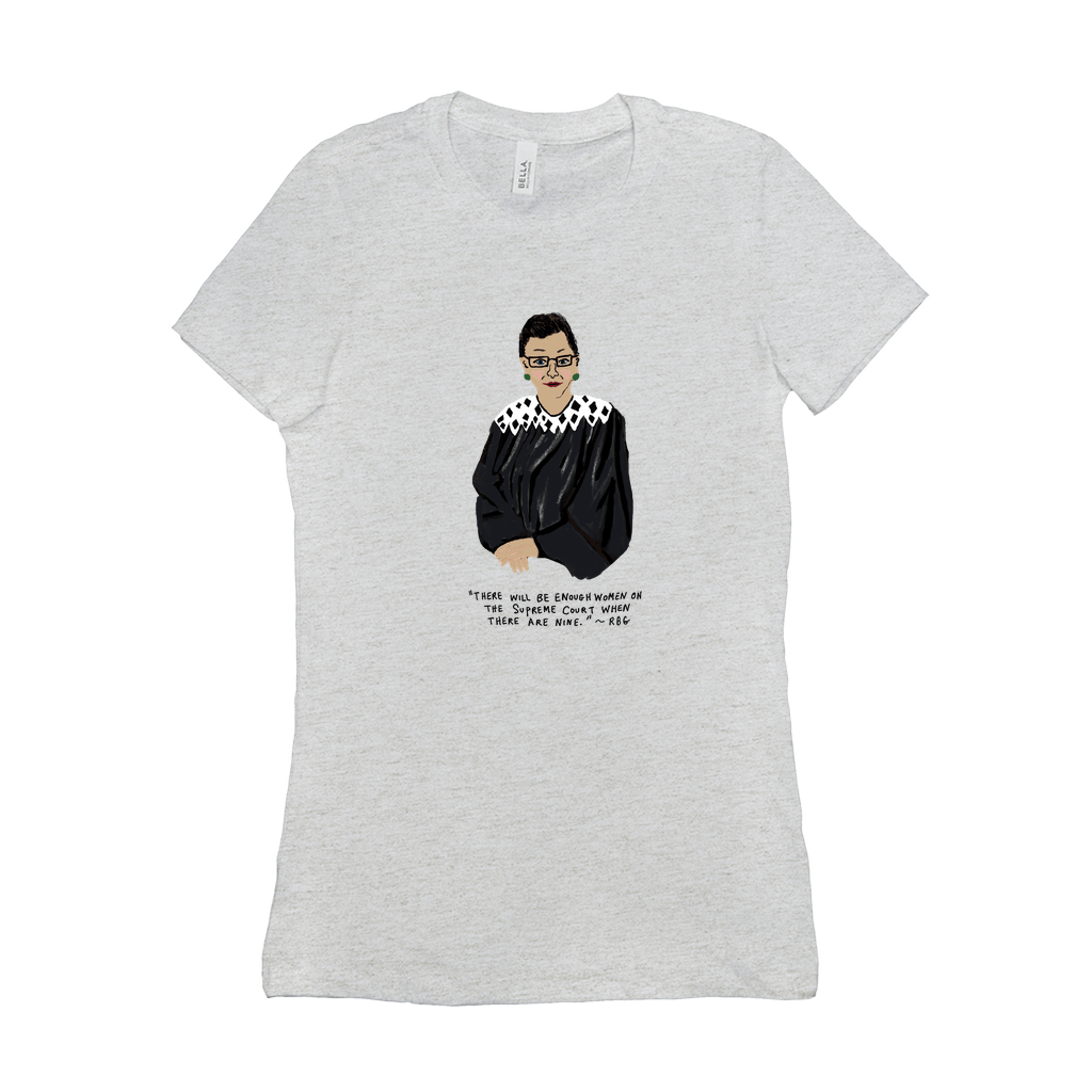 RBG Ruth Bader Ginsberg Women's T-Shirt by Maggie Stern Stitches Ash / Small (S) T-Shirt We Can Do It!