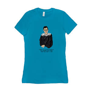 RBG Ruth Bader Ginsberg Women's T-Shirt by Maggie Stern Stitches Turquoise / Small (S) T-Shirt We Can Do It!