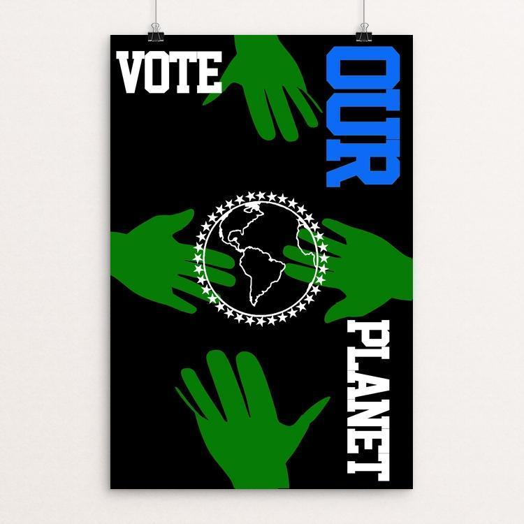 "Reach Out. Protect it. by Bob Rubin 12"" by 18"" Print / Unframed Print Vote Our Planet"
