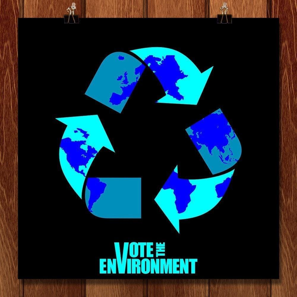 "Recycling the World by Fabian Emmanuel 12"" by 12"" Print / Unframed Print Vote the Environment"