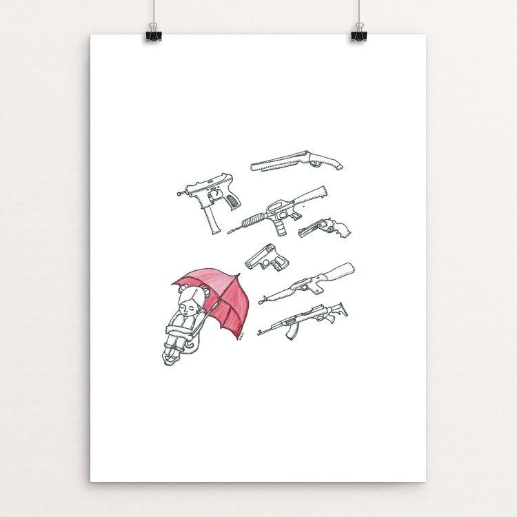 "Red Umbrella by Julie Santelices 12"" by 16"" Print / Unframed Print Creative Action Network"