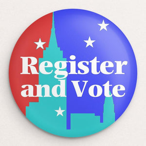 Register and Vote Button by Bob Rubin Single Buttons Vote!
