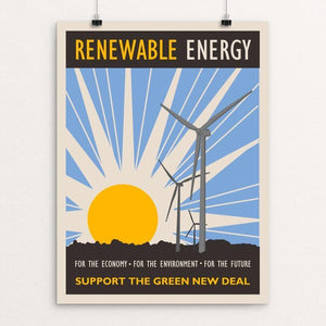 "Renewable Energy by Lisa Vollrath 12"" by 16"" Print / Unframed Print Green New Deal"