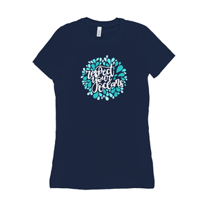 Respect Your Ocean Women's T-Shirt by Rachel Young Navy / Small (S) T-Shirt Creative Action Network