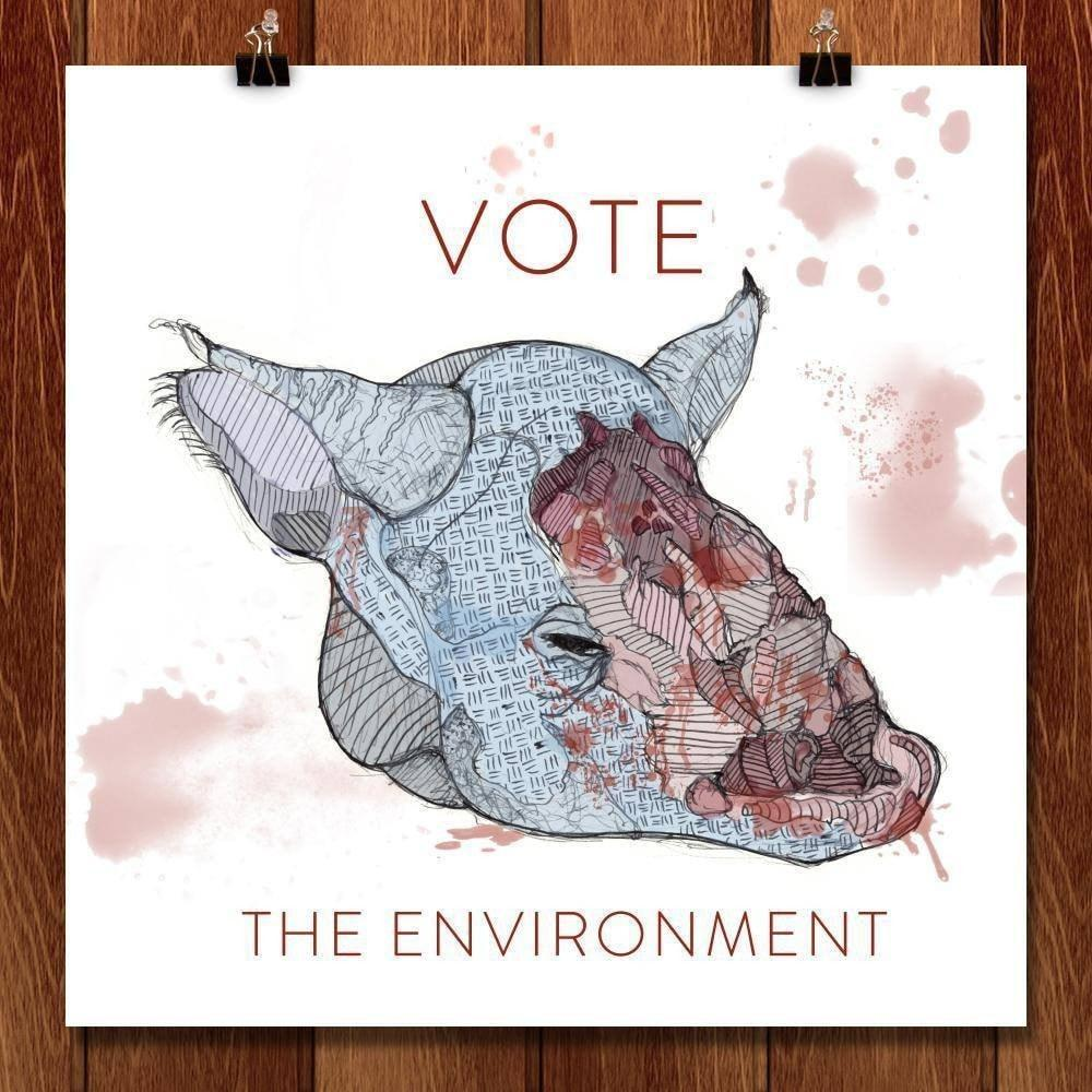"Rhino De-Horning Awareness by Nathaniel Terbush 12"" by 12"" Print / Unframed Print Vote the Environment"