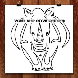 "Rhinos for the Environment by Vivian Mason 12"" by 12"" Print / Unframed Print Vote the Environment"