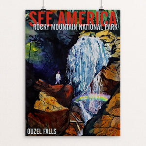 "Rocky Mountain National Park -- Ouzel Falls by Bruce and Scott Sink 12"" by 16"" Print / Unframed Print See America"