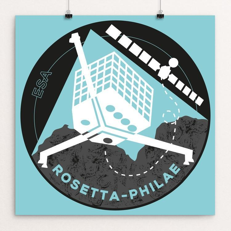"Rosetta-Philae by Louise Norman 12"" by 12"" Print / Unframed Print Space Horizons"