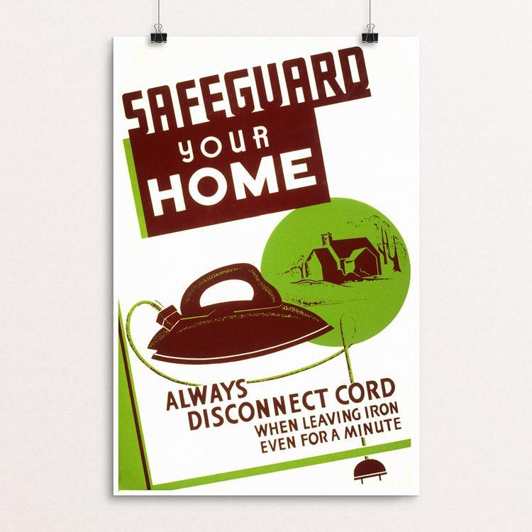 "Safeguard Your Home by Al Gladstone 12"" by 18"" Print / Unframed Print WPA Federal Art Project"