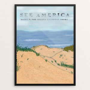 "Saint Padre Island National Shore by Alexandra Hornsby 12"" by 16"" Print / Framed Print See America"