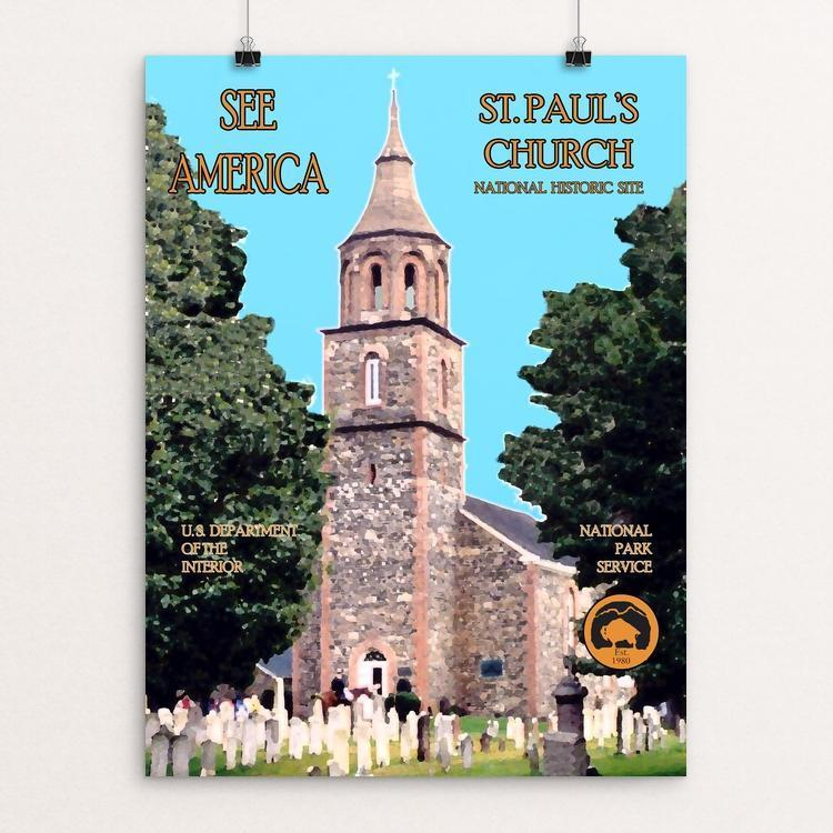 "Saint Paul's Church National Historic Site by John Lincoln Hallowell 12"" by 16"" Print / Unframed Print See America"