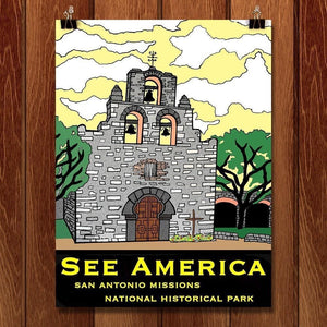 "San Antonio Missions National Historical Park by Joshua Sierra 12"" by 16"" Print / Unframed Print See America"