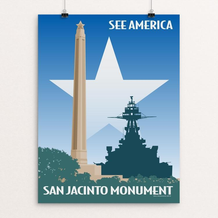 "San Jacinto Monument by Don Henderson 18"" by 24"" Print / Unframed Print See America"