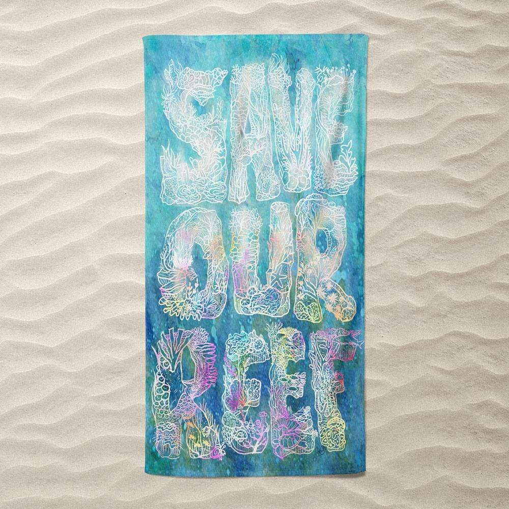 Save Our Reef by Tina Schofield Beach Towel Ocean Love