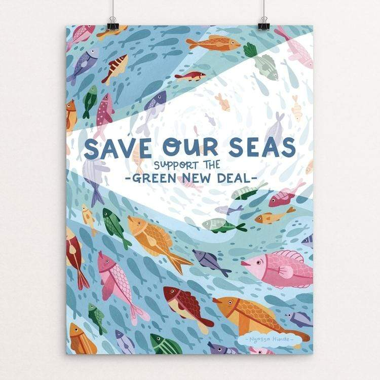 "Save Our Seas by Nyassa Hinde 18"" by 24"" Print / Unframed Print Green New Deal"