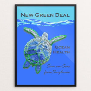 "Save our Seas from Single-use 2 by Candy Medusa 18"" by 24"" Print / Framed Print Green New Deal"