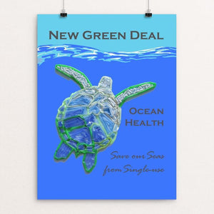 "Save our Seas from Single-use 2 by Candy Medusa 18"" by 24"" Print / Unframed Print Green New Deal"
