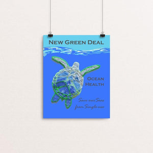 "Save our Seas from Single-use 2 by Candy Medusa 8"" by 10"" Print / Unframed Print Green New Deal"