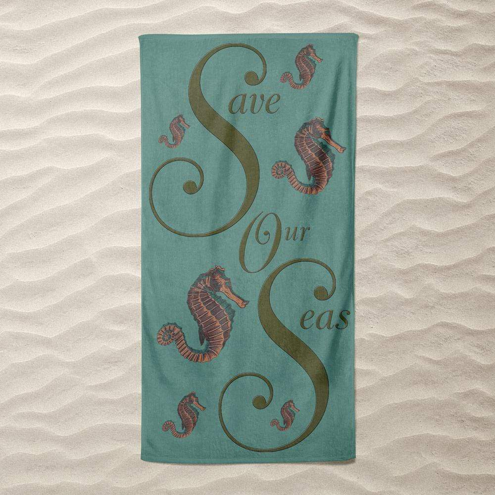 Save Our Seas Seahorses by Vivian Chang Beach Towel Ocean Love