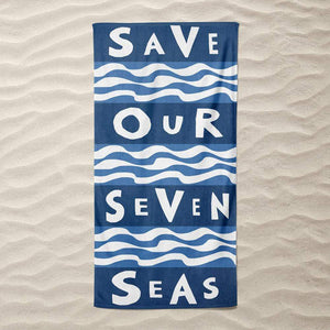 Save Our Seven Seas Beach Towel by Vivian Chang Beach Towel Ocean Love