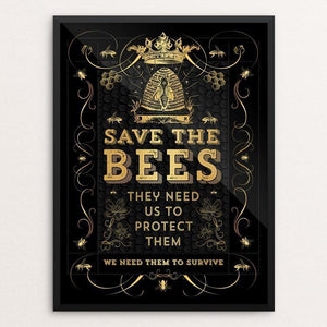 "Save The Bees by Brooke Fischer 12"" by 16"" Print / Framed Print Creative Action Network"