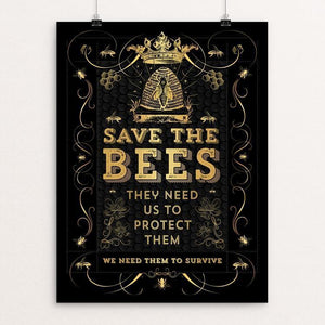 "Save The Bees by Brooke Fischer 12"" by 16"" Print / Unframed Print Creative Action Network"