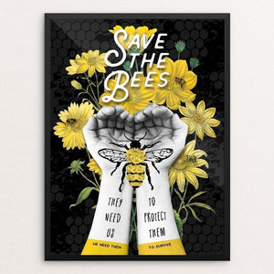 "Save The Bees - Protect Them by Brooke Fischer 12"" by 16"" Print / Framed Print Creative Action Network"