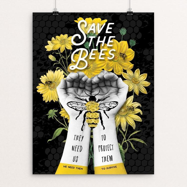 "Save The Bees - Protect Them by Brooke Fischer 12"" by 16"" Print / Unframed Print Creative Action Network"