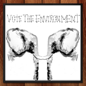 "Save the Elephants by Sam Malpass 12"" by 12"" Print / Framed Print Vote the Environment"