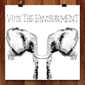 "Save the Elephants by Sam Malpass 12"" by 12"" Print / Unframed Print Vote the Environment"