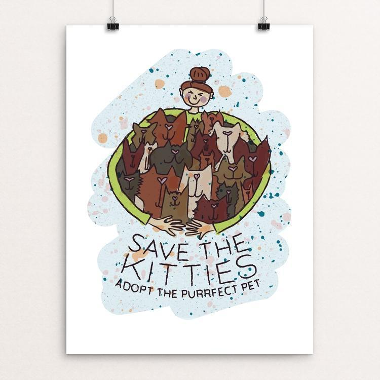 "Save The Kitties by Design By Goats 12"" by 16"" Print / Unframed Print Creative Action Network"