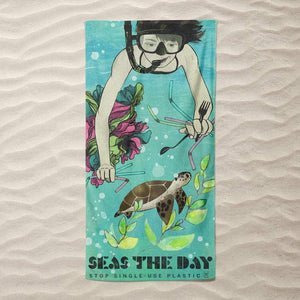 Seas the Day by Liza Donovan Beach Towel Ocean Love
