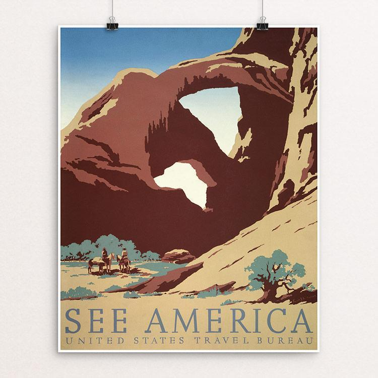 "See America by Frank S. Nicholson Unframed / 16"" by 20"" Print WPA Federal Art Project"