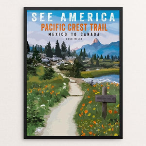 "SEE AMERICA - Pacific Crest Trail by Brooke Fischer 18"" by 24"" Print / Framed Print See America"