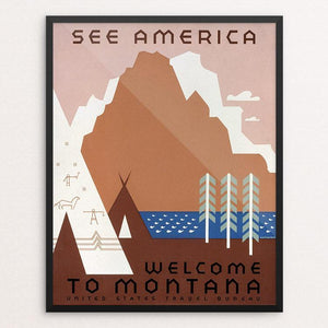 "See America Welcome to Montana by Jerome Henry Rothstein Framed / 16"" by 20"" Print WPA Federal Art Project"
