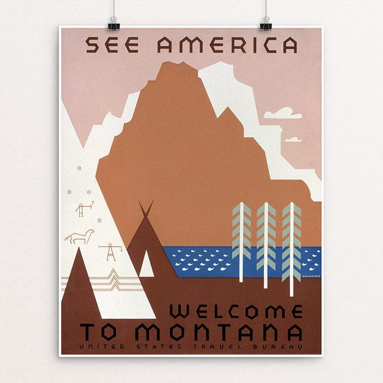 "See America Welcome to Montana by Jerome Henry Rothstein Unframed / 16"" by 20"" Print WPA Federal Art Project"